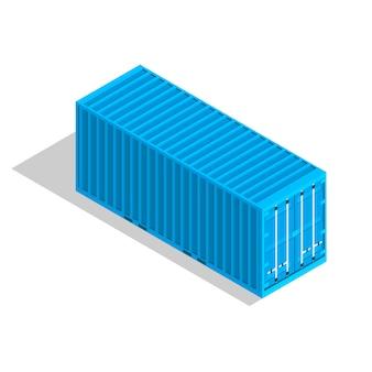 白で隔離される貨物コンテナー