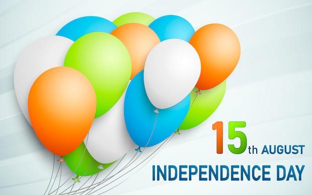 Счастливый индийский день республики фон с воздушными шарами в традиционном триколоре индийского флага