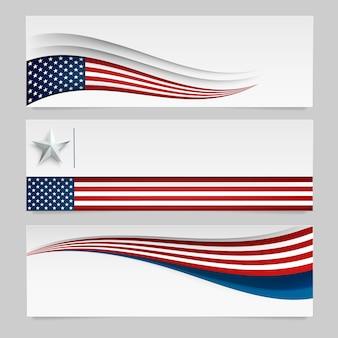アメリカ国旗を持つベクターバナー。