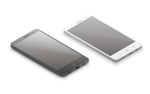 等尺性の黒と白のスマートフォン。