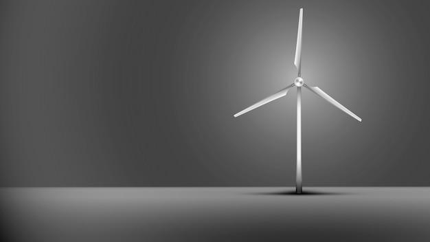 灰色の背景に風力タービン。