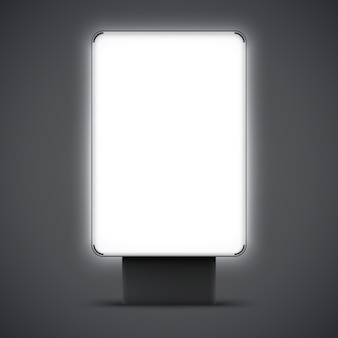 空白の屋外ライトボックスが分離されました。黒と銀のフレームを持つ街のライトボックス。ベクトルイラスト