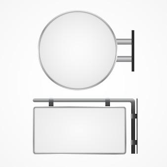 看板空白ラウンド、長方形のライトボックスの看板