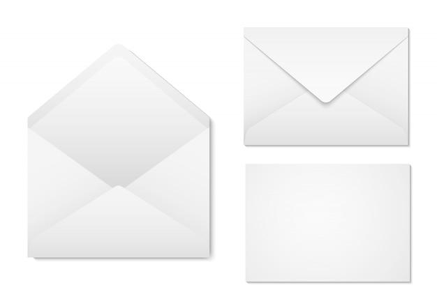 あなたのデザインの白紙封筒。空白の封筒の前面と背面図。