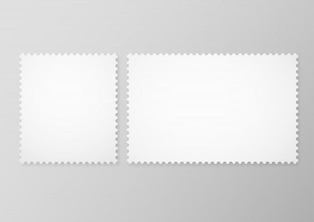 Набор пустых почтовых марок, изолированных на сером фоне. пустые рамки почтовых марок
