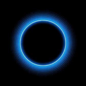 黒の背景にドットライト効果とネオンサークル
