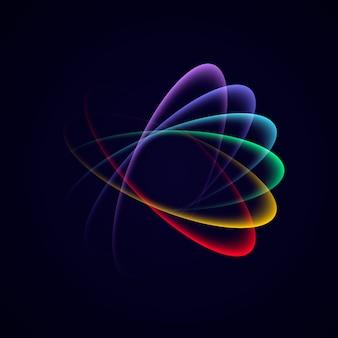 透明度を持つ抽象的な明るいネオン多色ループ。