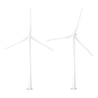 風力発電機のベクトルイラスト。孤立した風力タービン