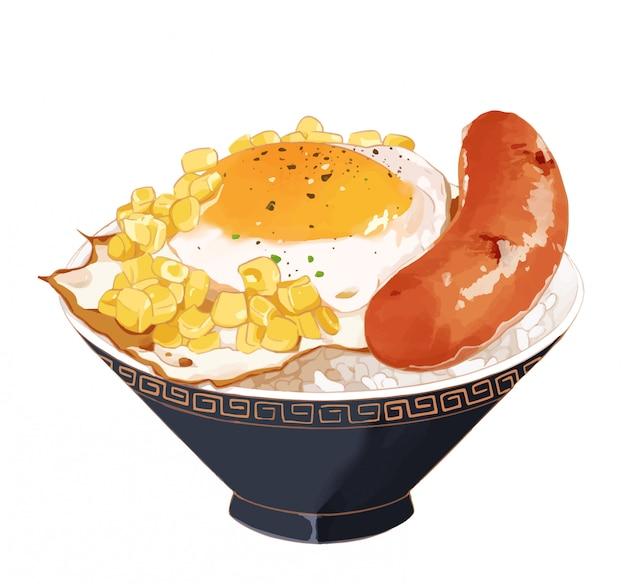 Жареное яйцо и рис с колбасой