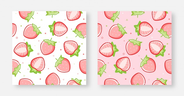 シームレスな素敵なイチゴの背景ピンクと白