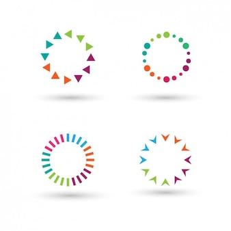 Коллекция красочных кругов, сделанных с полигонами