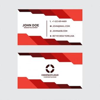 Элегантный и многоугольной визитная карточка в красном цвете