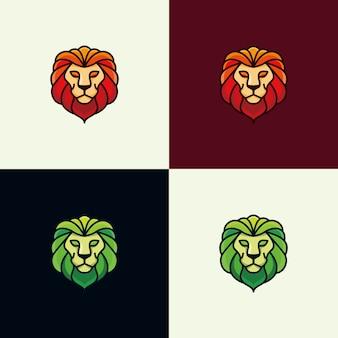 カラフルなライオンのロゴデザインのインスピレーション - ベクトル