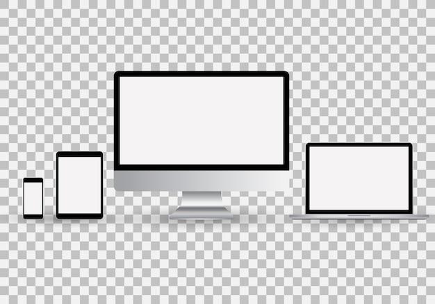 現実的なモニター、ノートパソコン、タブレット、空白の白い画面を持つスマートフォンのセット