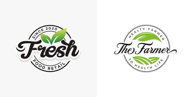 新鮮な自然食品のロゴコレクションテンプレート
