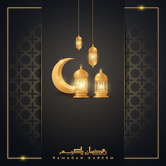 Рамадан карим исламский приветствие дизайн фона с золотым полумесяцем и фонарь