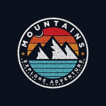山の冒険ロゴエンブレムプレミアムベクトル