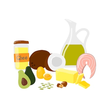 白で隔離される健康的な脂肪と油のバナーと食べ物。ギー、バター、ココナッツ、サーモン、ナッツ、オリーブ、アボカド製品。