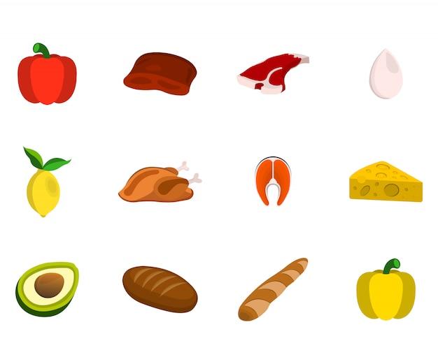 Набор мяса, фруктов, орехов и овощей. значок еды. мультфильм векторные иллюстрации.