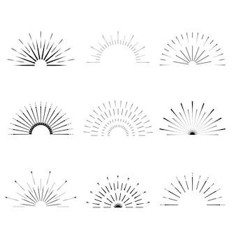 Ретро вс взрывные формы. урожай логотип звездообразования, наклейки, значки. санберст минимальные рамки с логотипом. фейерверк элементы дизайна изолированы. солнце вспыхнуло светом логотипа. минимальный старинный золотой фейерверк взрыв.