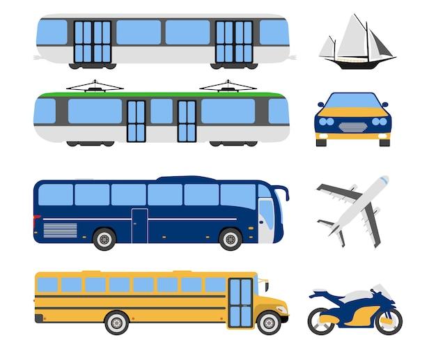 Набор иконок плоского городского транспорта