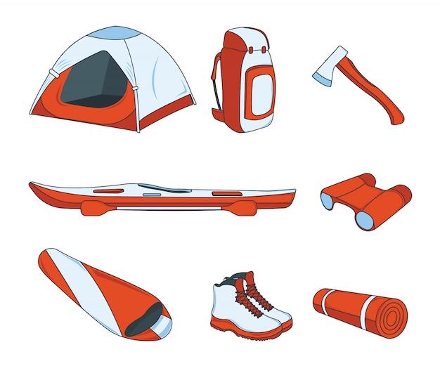 キャンプ用品のセット。