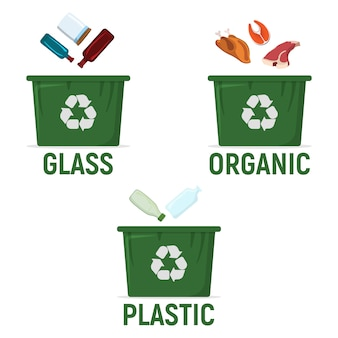 廃棄物分別リサイクル用コンテナ-プラスチック、有機、プラスチック。廃棄物、ゴミの処理とリサイクルのアイコン