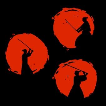 Силуэт японских воинов-самураев. векторная иллюстрация