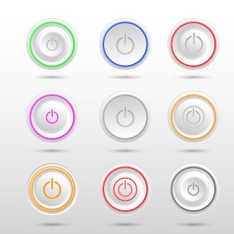 Набор различных светодиодных кнопок питания на белом фоне.
