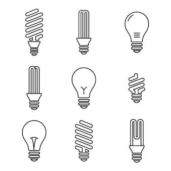 Лампочки. значок лампочки установлен. изолированные на белом фоне экономия электроэнергии