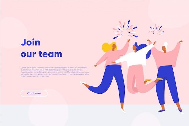 Присоединяйтесь к целевой странице нашей команды. счастливые женщины танцуют и прыгают. успешные работники присоединяются к команде мечты. плоская иллюстрация.