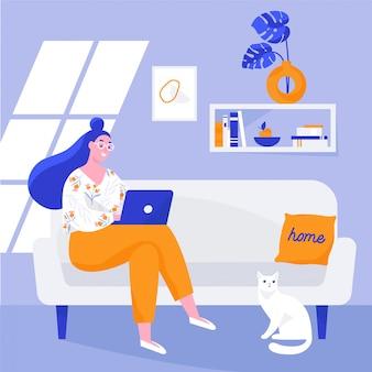 Женщина сидит на диване и работает на ноутбуке. фрилансер дома на рабочем месте. плоская иллюстрация.