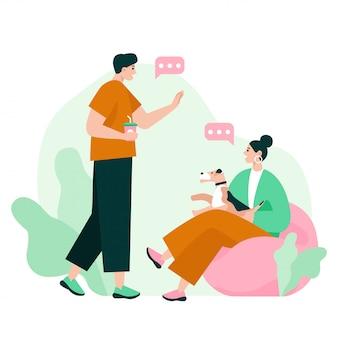 Первое знакомство двух человек. мужчина и женщина общаются, разговаривают и делают небольшие комплименты. плоская иллюстрация.