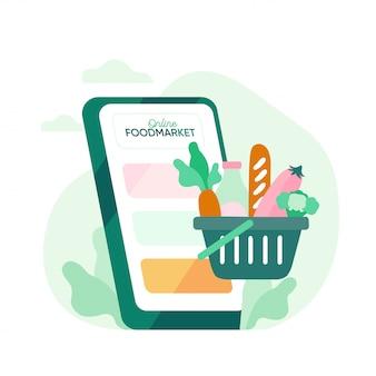 オンライン食品注文、食品バスケットとスマートフォンの食品配達の概念図。