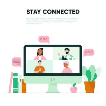 Видеозвонок на экран. виртуальная встреча с семьей. концепция видеоконференций
