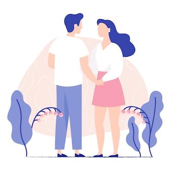 手を繋いでいる美しい若いカップル。男と女が一緒に立っています。男と女が恋に落ちる。カラフルなフラットのベクトル図