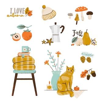 秋のイラストセット:コーヒーメーカー、果物、居心地の良い格子縞、落ち葉、キャンドル、かわいい猫、キノコ。秋のシーズン要素のコレクション。