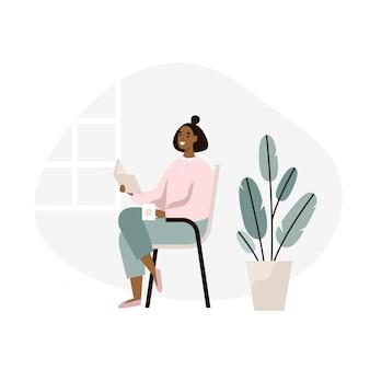 座っていると家で本を読む女性。週末の休憩、リラクゼーション。フラットの図。