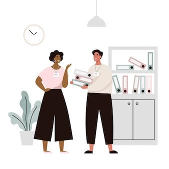 Двое сотрудников в офисе обсуждают рабочие вопросы. разговор двух офисных работников. плоская иллюстрация.