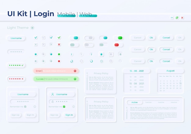 Набор элементов пользовательского интерфейса для доступа к личному аккаунту