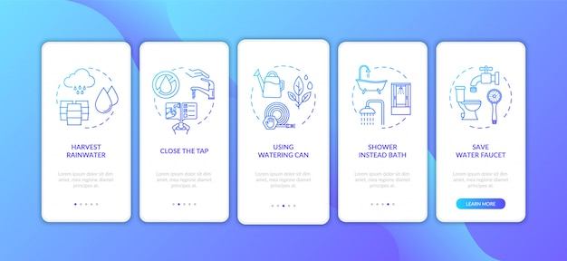 コンセプトを含むモバイルアプリのページ画面をオンボードする節水のヒント