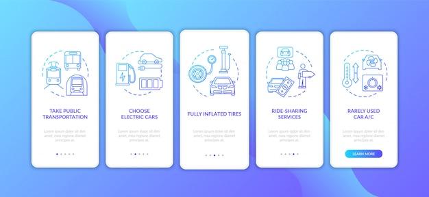 Советы по экономии топлива на экране страницы мобильного приложения с концепциями