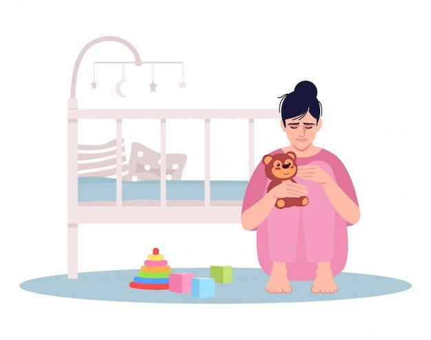泣いている若い母親のセミフラットイラスト