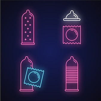 Набор иконок неоновый свет презервативов. женский латекс многоразового контрацептива с точками в упаковке.
