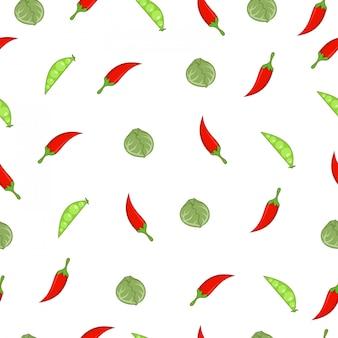 チリ、エンドウ豆、キャベツ夏市場シームレスパターン
