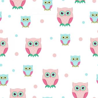 フクロウのシームレスなパターンデザイン。
