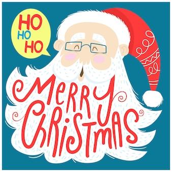 Дед мороз и надпись с рождеством на бороду