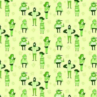 Социальное дистанцирование, люди с масками и вирусами. бесшовные модели