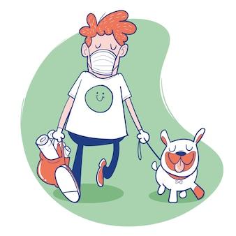男はマスクと犬と一緒に歩く