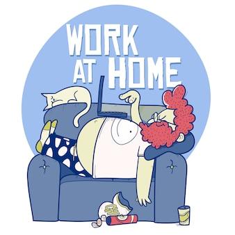 Человек, работающий на ноутбуке, лежа на диване